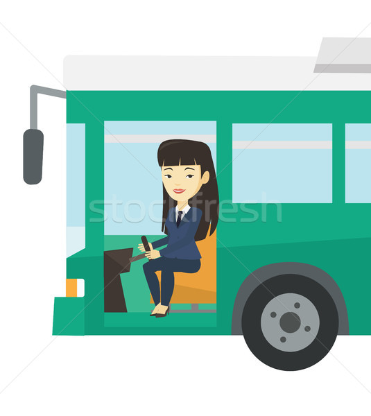 Asian bus driver seduta volante femminile Foto d'archivio © RAStudio