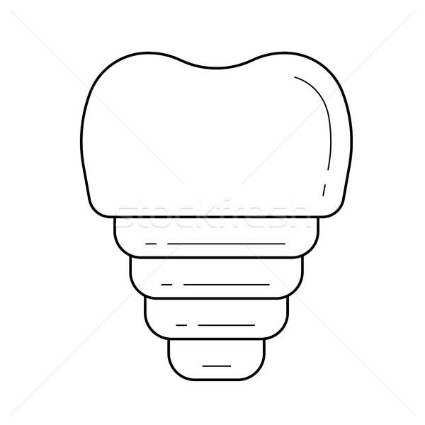 Fogászati implantátum vonal ikon vektor izolált Stock fotó © RAStudio