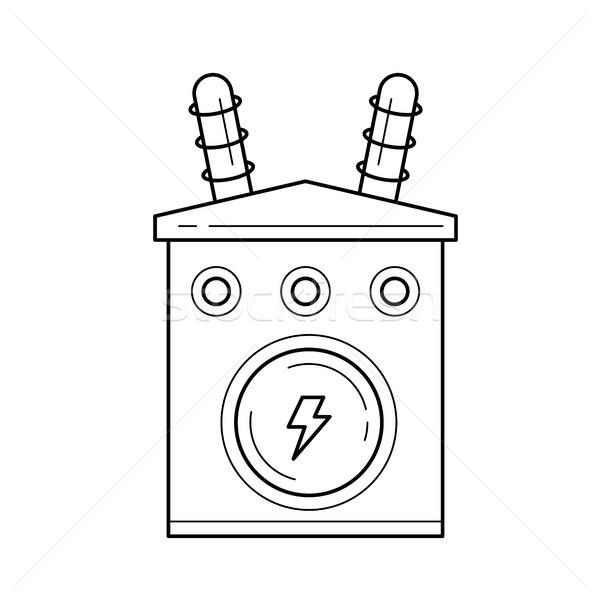 Stockfoto: Elektriciteit · distributie · vector · lijn · icon · geïsoleerd