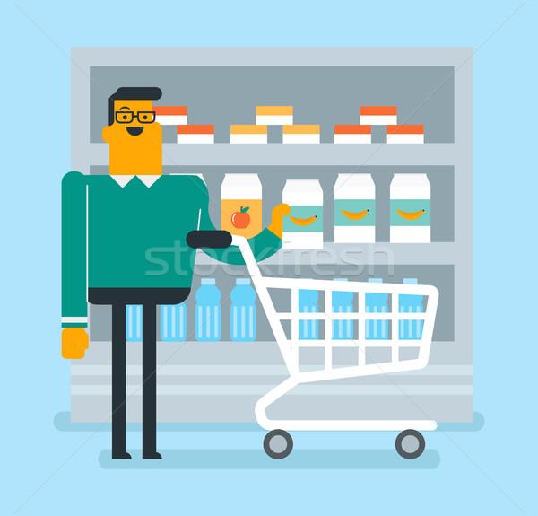 Kaukasisch man winkelen supermarkt blanke man lopen Stockfoto © RAStudio