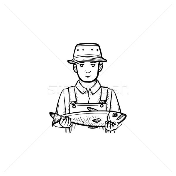 Pescador esboço ícone rabisco Foto stock © RAStudio