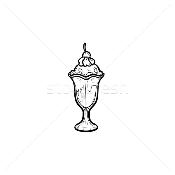 Icecream dessinés à la main croquis icône doodle Photo stock © RAStudio