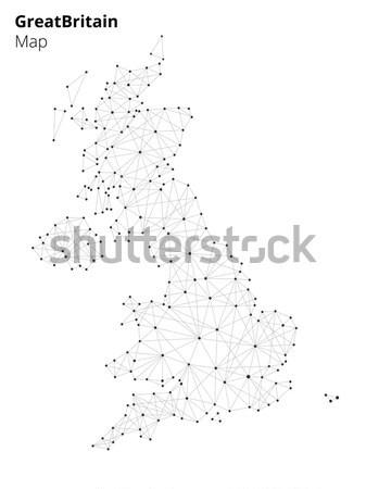 Groot-brittannië kaart technologie stijl illustratie netwerk Stockfoto © RAStudio