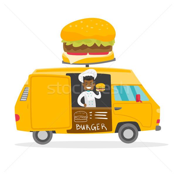 улице продавец молодые счастливым Burger Сток-фото © RAStudio