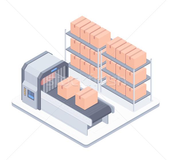 Automated boxing line with conveyor belt isometric illustration Stock photo © RAStudio