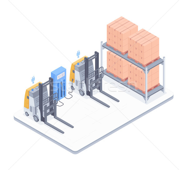 Warehouse with forklifts isometric illustration Stock photo © RAStudio