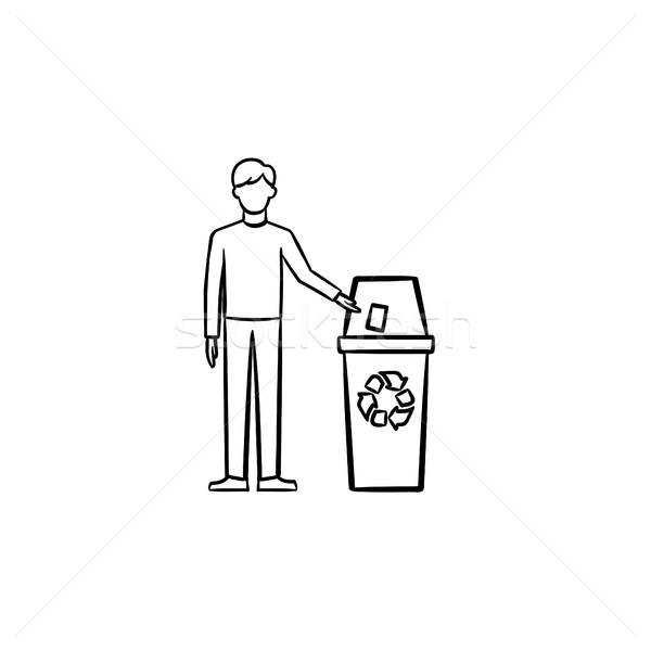 Man vuilnis prullenbak Stockfoto © RAStudio