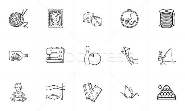 Hobbi kézzel rajzolt rajz ikon gyűjtemény skicc firka Stock fotó © RAStudio