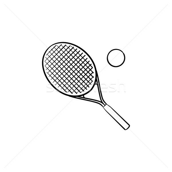 テニスラケット 手描き いたずら書き アイコン テニスボール ストックフォト © RAStudio