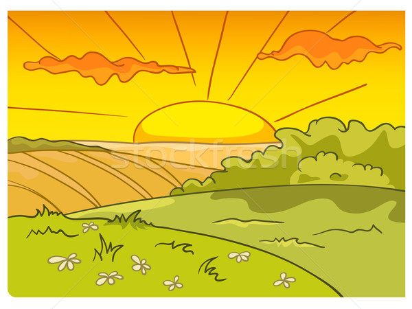 Cartoon natuur landschap boerderij veld vector Stockfoto © RAStudio