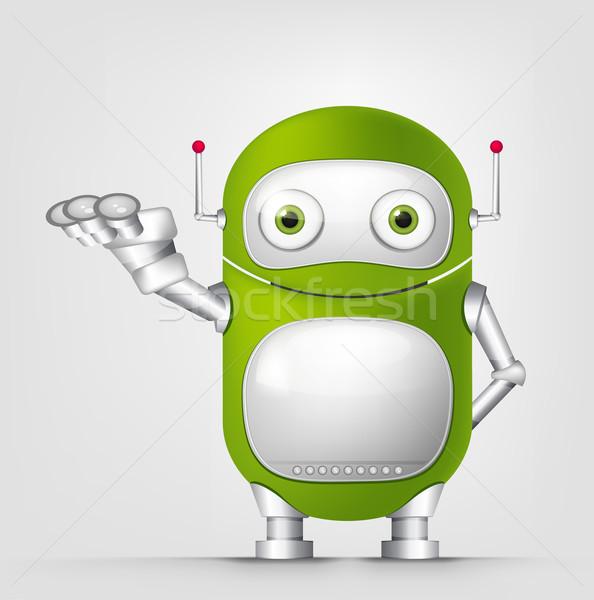 Cute robot geïsoleerd grijs helling Stockfoto © RAStudio