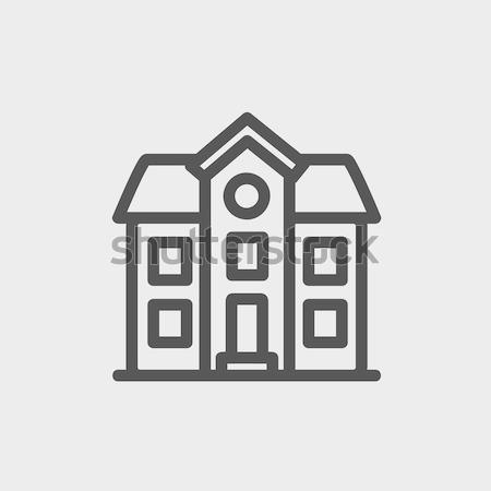 Zwei Haus Gebäude dünne line Symbol Stock foto © RAStudio