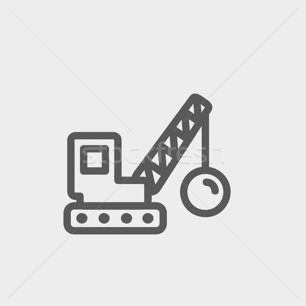 Yıkım ince hat ikon web hareketli Stok fotoğraf © RAStudio