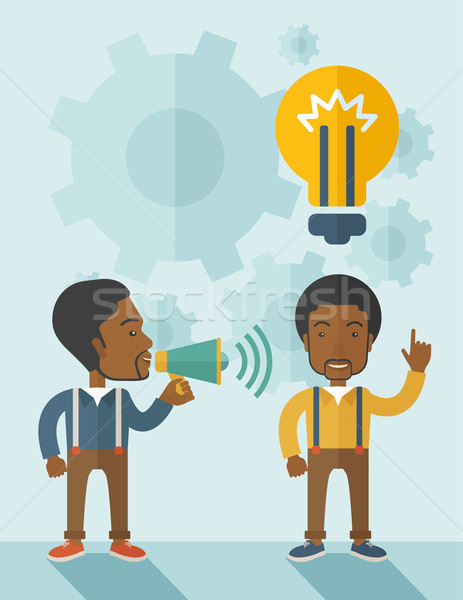 Zwarte jongens megafoon lamp top hoofd Stockfoto © RAStudio