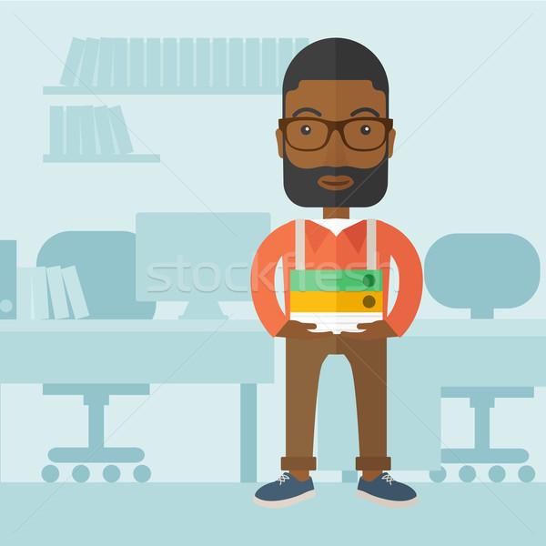 黒人男性 立って オフィス 図書 ストックフォト © RAStudio