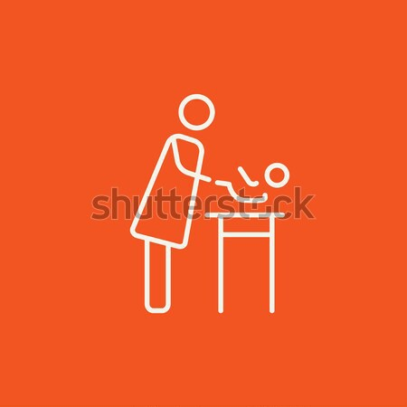 Woman changing the diaper thin line icon Stock photo © RAStudio
