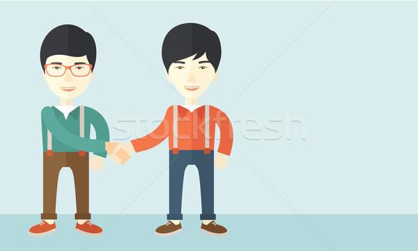 Kettő ázsiai srácok boldogan áll szemben Stock fotó © RAStudio