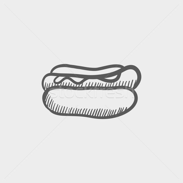 Hotdog szendvics rajz ikon háló mobil Stock fotó © RAStudio