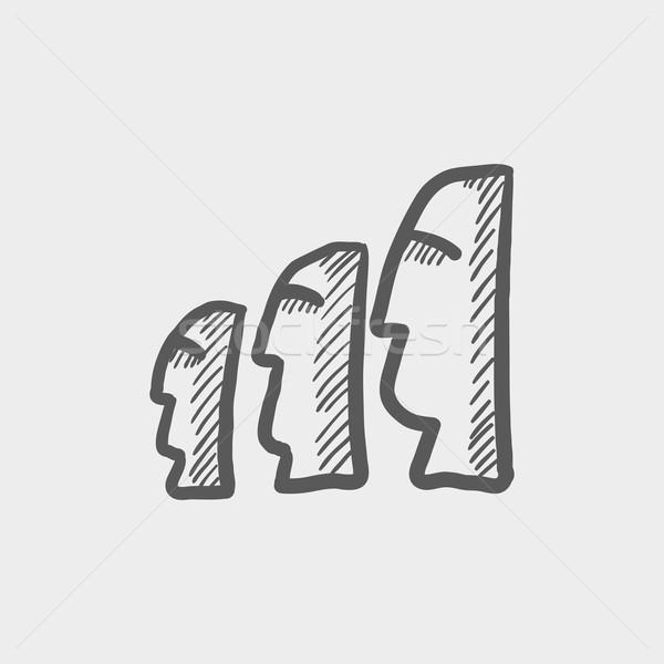 Páscoa esboço ícone Ilha de Páscoa teia móvel Foto stock © RAStudio