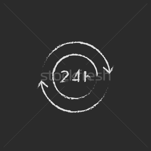 Service 24 hrs icon drawn in chalk. Stock photo © RAStudio
