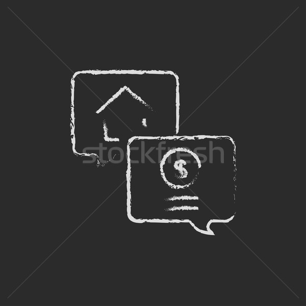Immobilien Transaktion Symbol gezeichnet Kreide Hand gezeichnet Stock foto © RAStudio