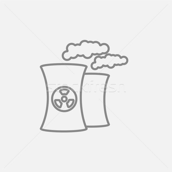 Foto stock: Nuclear · usina · linha · ícone · teia · móvel