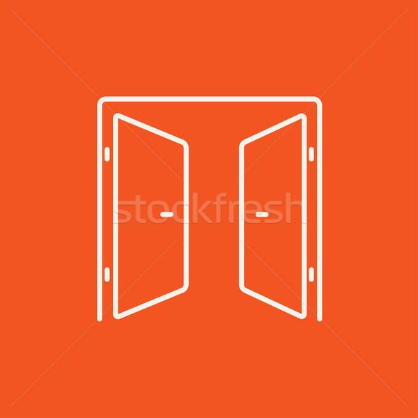 Stock photo: Open doors line icon.