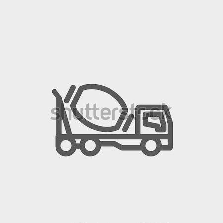 Concrètes mixeur camion ligne icône web Photo stock © RAStudio