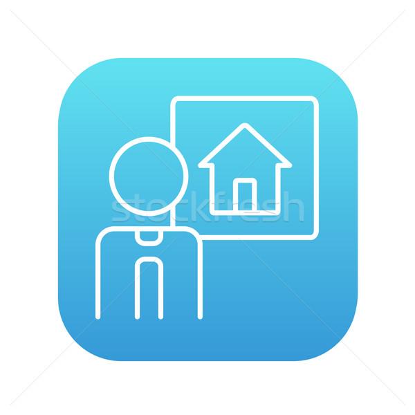 Agente immobiliare line icona web mobile infografica Foto d'archivio © RAStudio