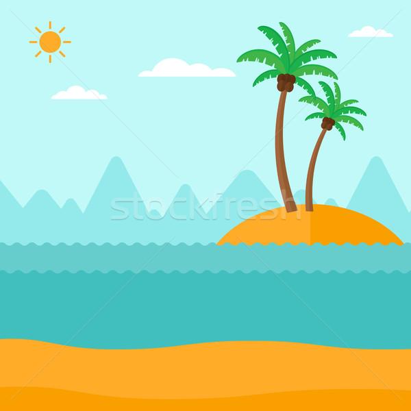 небольшой Тропический остров пальмами океана вектора дизайна Сток-фото © RAStudio