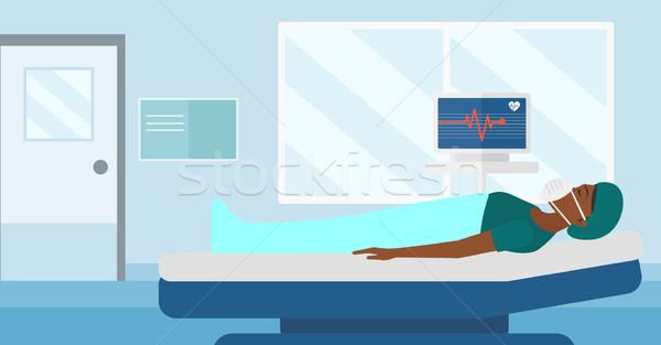 Stockfoto: Patiënt · hart · monitor · vrouw · zuurstofmasker