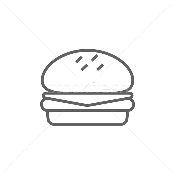 Foto stock: Hambúrguer · linha · ícone · teia · móvel