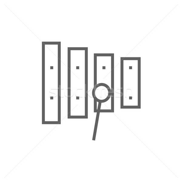 Xylophone with mallet line icon. Stock photo © RAStudio