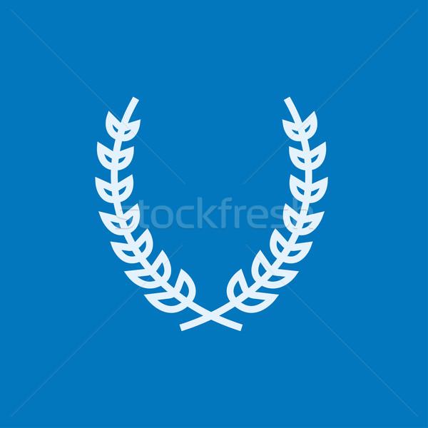 Defne çelenk hat ikon köşeler web Stok fotoğraf © RAStudio