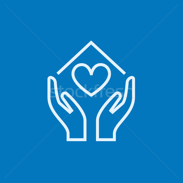 Hands holding house symbol with heart shape line icon. Stock photo © RAStudio