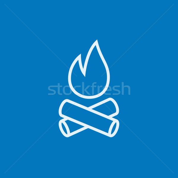 Tábortűz vonal ikon sarkok háló mobil Stock fotó © RAStudio