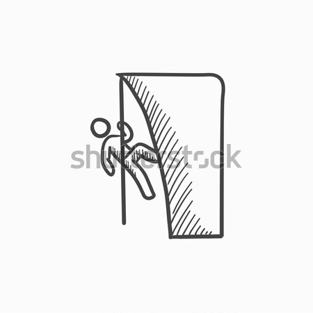 рок эскиз икона скалолазания утес веб Сток-фото © RAStudio