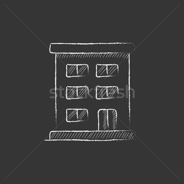 Residential building. Drawn in chalk icon. Stock photo © RAStudio