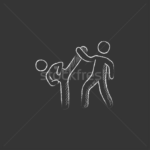 Karate fighters. Drawn in chalk icon. Stock photo © RAStudio