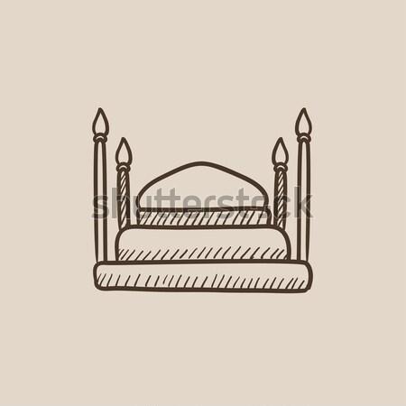 Taj Mahal craie icône dessinés à la main vecteur Photo stock © RAStudio
