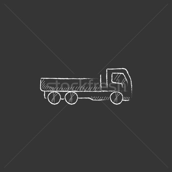 Dump truck. Drawn in chalk icon. Stock photo © RAStudio