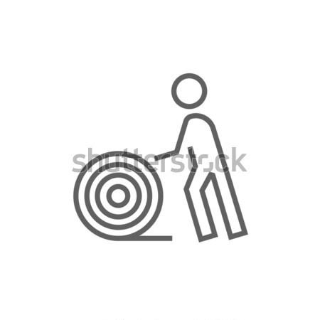 Homem arame carretel linha ícone Foto stock © RAStudio