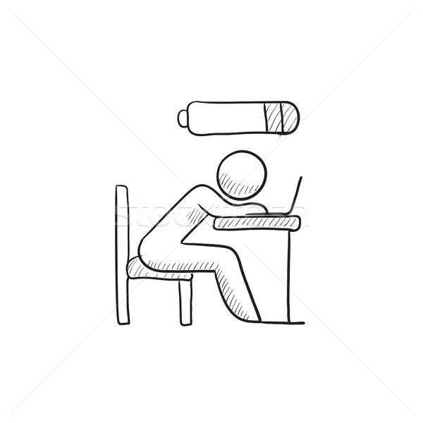Bsinessman in low power sketch icon. Stock photo © RAStudio
