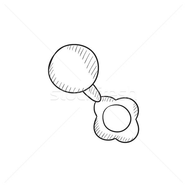 ребенка греметь эскиз икона вектора изолированный Сток-фото © RAStudio