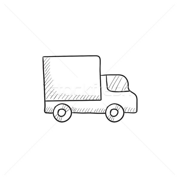 Kisteherautó rajz ikon vektor izolált kézzel rajzolt Stock fotó © RAStudio