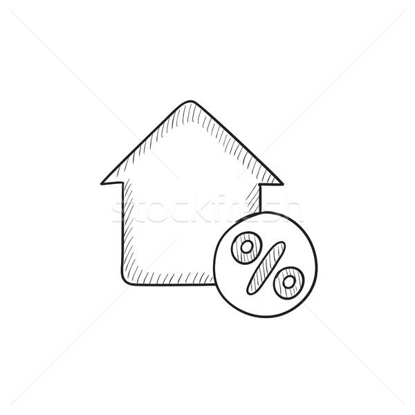 Casa desconto membro esboço ícone vetor Foto stock © RAStudio