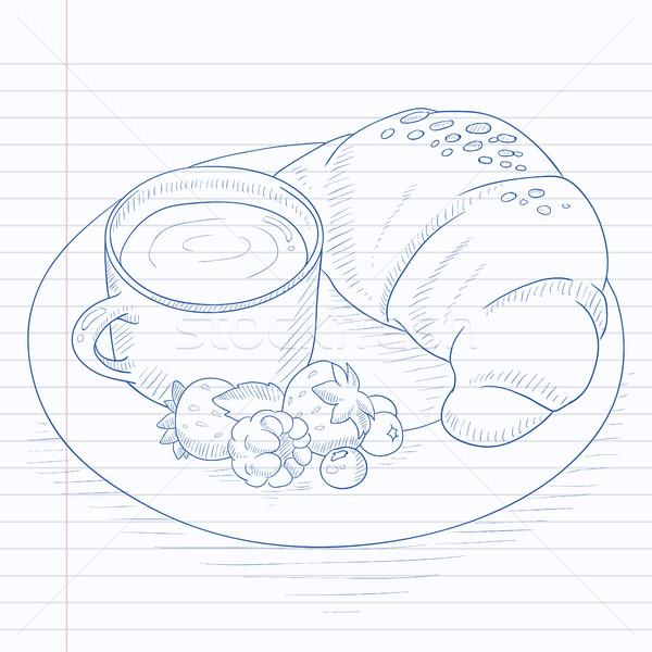 Kahvaltı kahve kruvasan karpuzu fincan plaka Stok fotoğraf © RAStudio