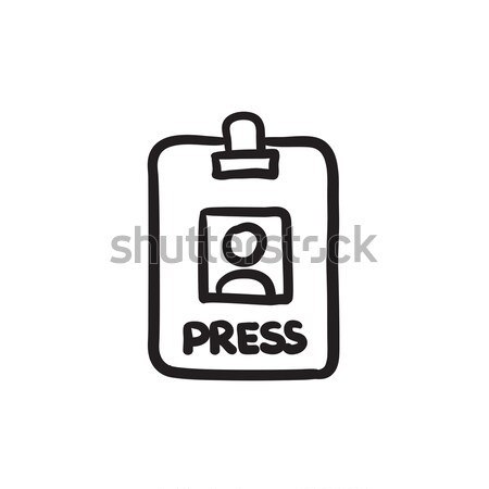 Imprensa cartão esboço ícone Foto stock © RAStudio