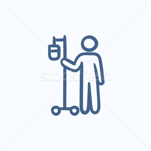 Patient with intravenous dropper sketch icon. Stock photo © RAStudio