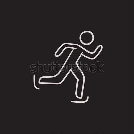 Speed skating sketch icon. Stock photo © RAStudio